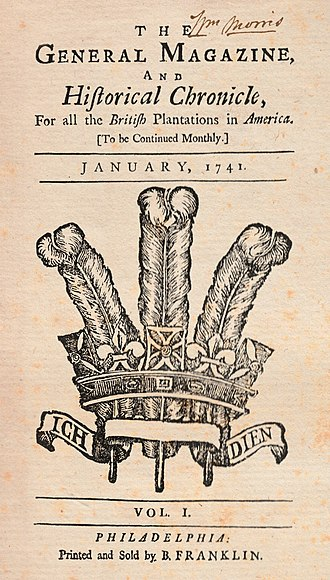 Benjamin Franklin - Franklin's The General Magazine and Historical Chronicle (Jan. 1741)