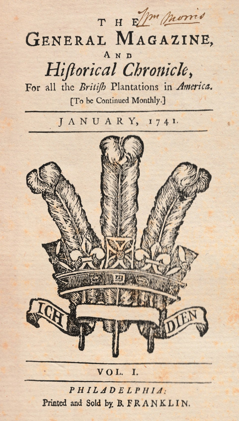 The General Magazine and Historical Chronicle Vol 1, January, 1741
