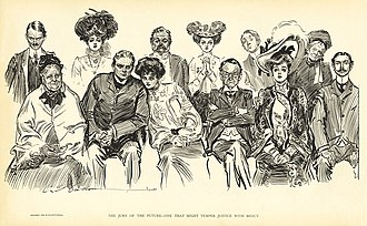 "Women in United States juries - ""The jury of the future--One that might temper justice with mercy"" (1903)"