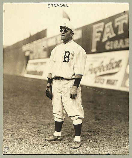 Stengel playing outfield for the Dodgers, ca. 1915 The Library of Congress - (Casey Stengel, full-length portrait, wearing sunglasses, while playing outfield for the Brooklyn Dodgers) (LOC).jpg