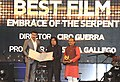 The Minister of State for Information & Broadcasting, Col. Rajyavardhan Singh Rathore presenting the Golden Peacock award for the best film 'EMBRACE OF THE SERPENT'.jpg