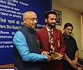 The Minister of State for Youth Affairs and Sports (IC), Water Resources, River Development and Ganga Rejuvenation, Shri Vijay Goel conferring the Arjuna Award on Cricketer Ajinkya Rahane, in New Delhi on September 16, 2016.jpg