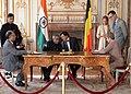 The President, Shri Pranab Mukherjee and the Prime Minister of Belgium, Mr. Elio Di Rupo witnessing the signing of the MoU between the Indian and Belgium University, at Egmont Palace, Brussels in Belgium on October 03, 2013 (1).jpg