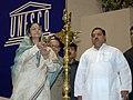 The President, Smt. Pratibha Devisingh Patil lighting the lamp to inaugurate the National Celebration of International Literacy Day, in New Delhi on September 08, 2007.jpg