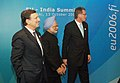 The Prime Minister, Dr. Manmohan Singh with the Prime Minister of Finland, Mr. Matti Vanhanen and the President of the European Commission Mr. Barroso at India –EU summit in Helsinki, Finland on October 13, 2006.jpg