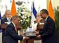 The Prime Minister, Shri Narendra Modi and the Prime Minister of Israel, Mr. Benjamin Netanyahu witnessing the Exchange of MoUsAgreements between India and Israel, at Hyderabad House, in New Delhi on January 15, 2018 (6).jpg