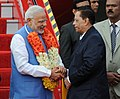The Prime Minister, Shri Narendra Modi at the ceremonial reception, at Sir Seewoosagar Ramgoolam Airport, in Mauritius on March 11, 2015 (3).jpg