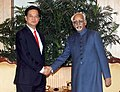 The Prime Minister of Socialist Republic of Vietnam, Mr. Nguyen Tan Dung calling on the Vice President, Shri Mohd. Hamid Ansari, in New Delhi on October 28, 2014.jpg
