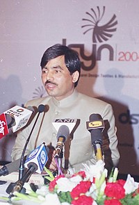 The Union Minister for Textiles Shri Syed Shahnawaz Hussain addressing the Press on the forthcoming mega event for showcasing the expertise and capabilities of Indian Fashion Industry, Textiles and Apparel manufacturing.jpg