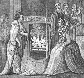 Grace O'Malley - The meeting of Grace O'Malley and Queen Elizabeth I (a later illustration from Anthologia Hibernica, vol. 11, 1793)