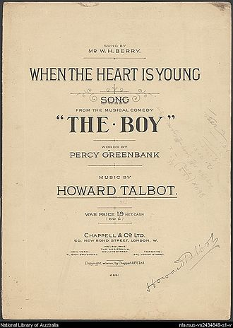 Percy Greenbank - Sheet music from The Boy