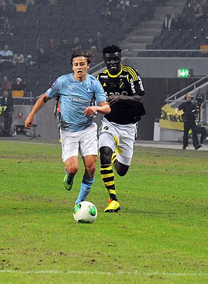 Simon Thern - Thern playing for Malmö FF against AIK