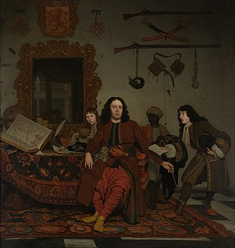 """Thomas Hees - """"Thomas Hees with his nephews Jan and Andries Hees and a servant"""" by Michiel van Musscher, oil on canvas, 1687, Rijksmuseum. The coat of arms above the mirror depicts the lion of the County of Holland."""