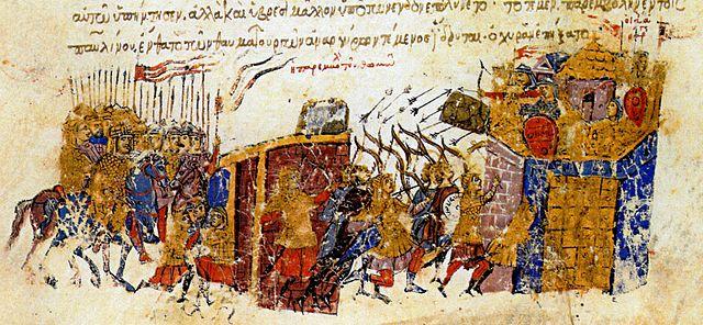 Thómasz Bizánc falainál - Forrás: Wikipédia