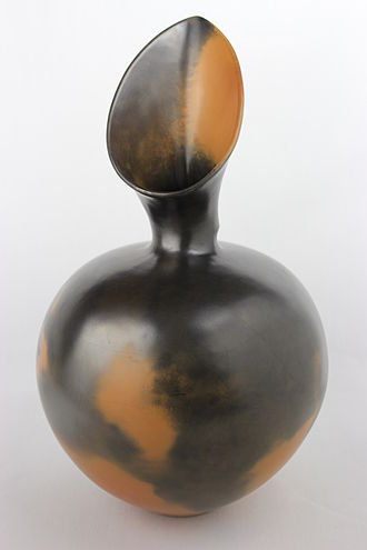 Magdalene Odundo - Untitled Burnished, reduction fired pot by Magdalene Odundo from the W.A. Ismay collection at York Art Gallery