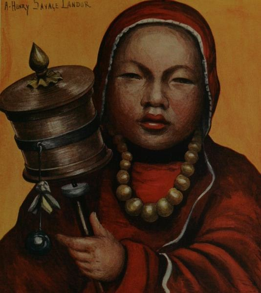Tibetan Child with Prayer Wheel