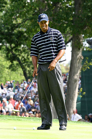 Tiger Woods during a practice round prior to t...