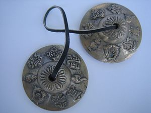 Tingsha - Tingsha cymbals designed with the eight auspicious symbols