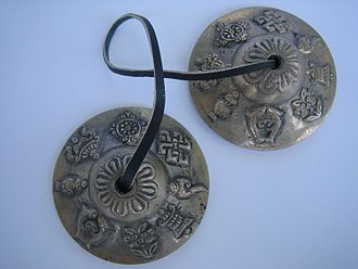Tingsha - Tingsha cymbals designed with the eight auspicious symbols