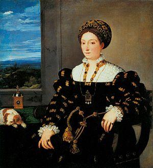 Eleonora Gonzaga, Duchess of Urbino - Eleonor Gonzaga painted by Titian. Uffizi Gallery, Italy.