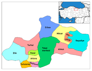Almus - Image: Tokat districts