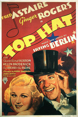 RKO Pictures - Fred Astaire and Ginger Rogers, the only performers ever to make the annual list of top box office stars while with RKO. Top Hat (1935) was the third of the eight films in which they costarred between 1934 and 1939.
