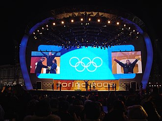2006 Winter Olympics - Victory ceremony at Medals Plaza