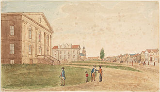 York, Upper Canada - View of King Street, c. 1829. The settlement's courthouse, jail, and St. James Anglican Church are visible to the left of King Street.