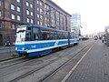 Tram 142 at Hobujaama Stop in Tallinn 30 January 2015.jpg