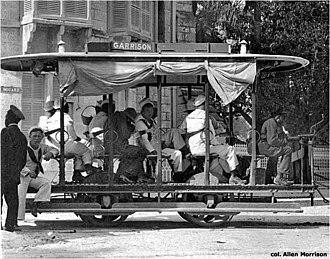 Barbados Tramway Company - Image: Tram in Bridgetown, Barbados (col. Allen Morrison)