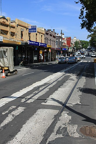 Glebe Point Road - Exposed tram track in July 2010
