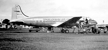 TCA North Star at London Airport (Heathrow) in 1951 Trans Canada Airlines North Star Heathrow 1951.jpg