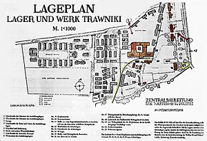 Trawniki concentration camp - Original German map of the Trawniki camp as of June 21, 1942. Left side: slave labor camp for condemned Jewish prisoners. Centre-left: supply road with two gates, north and south. On the right side: training compound for the Hiwi shooters around the military training plaza (1) located to the north of former sugar refinery (hand-coloured in brown, with kitchen). German SS quarters (with infirmary and storeroom) hand-coloured in red (east). Comandant's house lower down.
