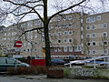 Tree along the canal with flats on the basckground; Amsterdam April 2013.jpg