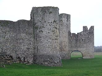 Trim Castle - The Dublin Gate barbican tower at the southern curtain wall