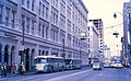 Trolleybus next to Hudson's Bay Company store in Calgary in 1971.jpg