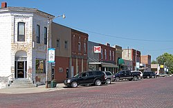 Troy business district with brick street, 2006