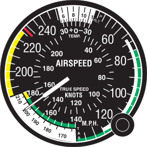 True airspeed - A mechanical true airspeed indicator for an airplane. The pilot sets the pressure altitude and air temperature in the top window using the knob; the needle indicates true airspeed in the lower left window.