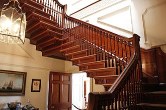 Tryon Palace - the grand staircase is made of mahogany wood with walnut treds