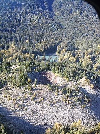 Tseax Cone - Tseax volcanic cone, British Columbia, Canada – aerial view in September 2013 looking north