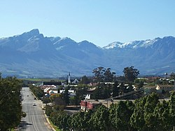 Tulbagh's main street with the Winterhoek Mountains beyond