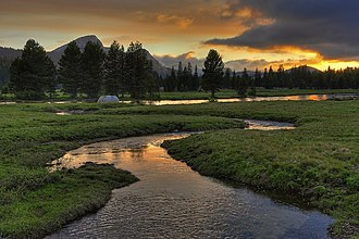 Tuolumne Meadows - Sunset over Tuolumne River by Tuolumne Meadows