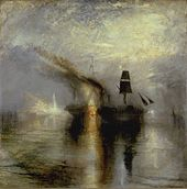 Painting of a burial at sea by J.M.W. Turner