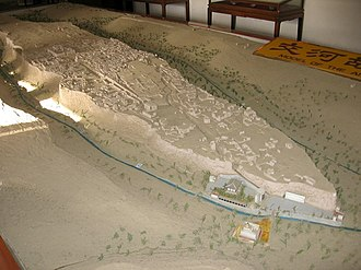 Jiaohe ruins - Model of the plateau on which Jiaohe is located