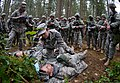 U.S. Army Sgt. Dayna Taylor, a licensed practical nurse with Alpha Company, Madigan Army Medical Center, demonstrates assessing a causality during Expert Field Medical Badge training at Joint Base Lewis-McChord 130404-A-FS521-055.jpg