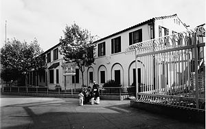 San Ysidro Port of Entry - The 1933 Mission Revival-style Old Customs House, in a photo from 1981