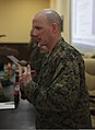U.S. Marine Corps 1st Sgt. Darrin Leonhart, the company first sergeant of Weapons Company, Black Sea Rotational Force 13, responds to a question from a Georgian soldier during a noncommissioned officer seminar 130320-M-ZP546-013.jpg