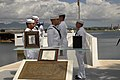U.S. Sailors participate in an ash-scattering ceremony for retired Chief Petty Officer Earl Selover at the USS Utah Memorial on Ford Island in Pearl Harbor, Hawaii, May 22, 2013 130522-N-QG393-020.jpg