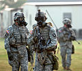 U.S. Soldiers with Headquarters and Headquarters Company, 2nd Battalion, 502nd Infantry Regiment, 2nd Brigade Combat Team, 101st Airborne Division (Air Assault) wear M-40 gas masks during a recovery scenario 090910-A-PY395-003.jpg