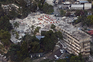 Corruption in Haiti - collapsed United Nations building in Haiti